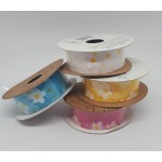 25mm Woven Edge Organza Ribbon - Flower Print