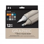 Crafters Companion Spectrum Noir Graphic 12 Pen Set - Industrial